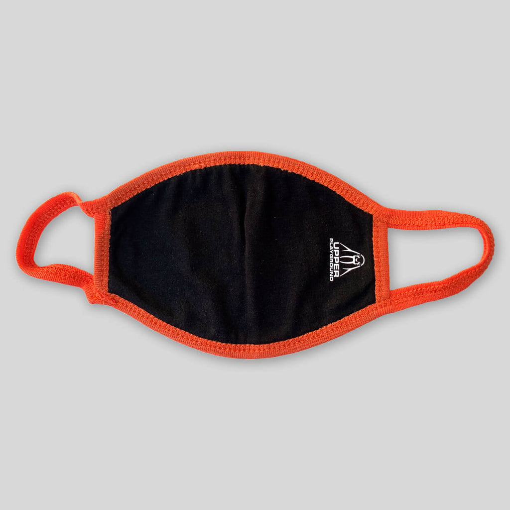 Upper Playground - Lux - ALL DAY IN BLACK/ORANGE 2 PLY COTTON FACE MASK