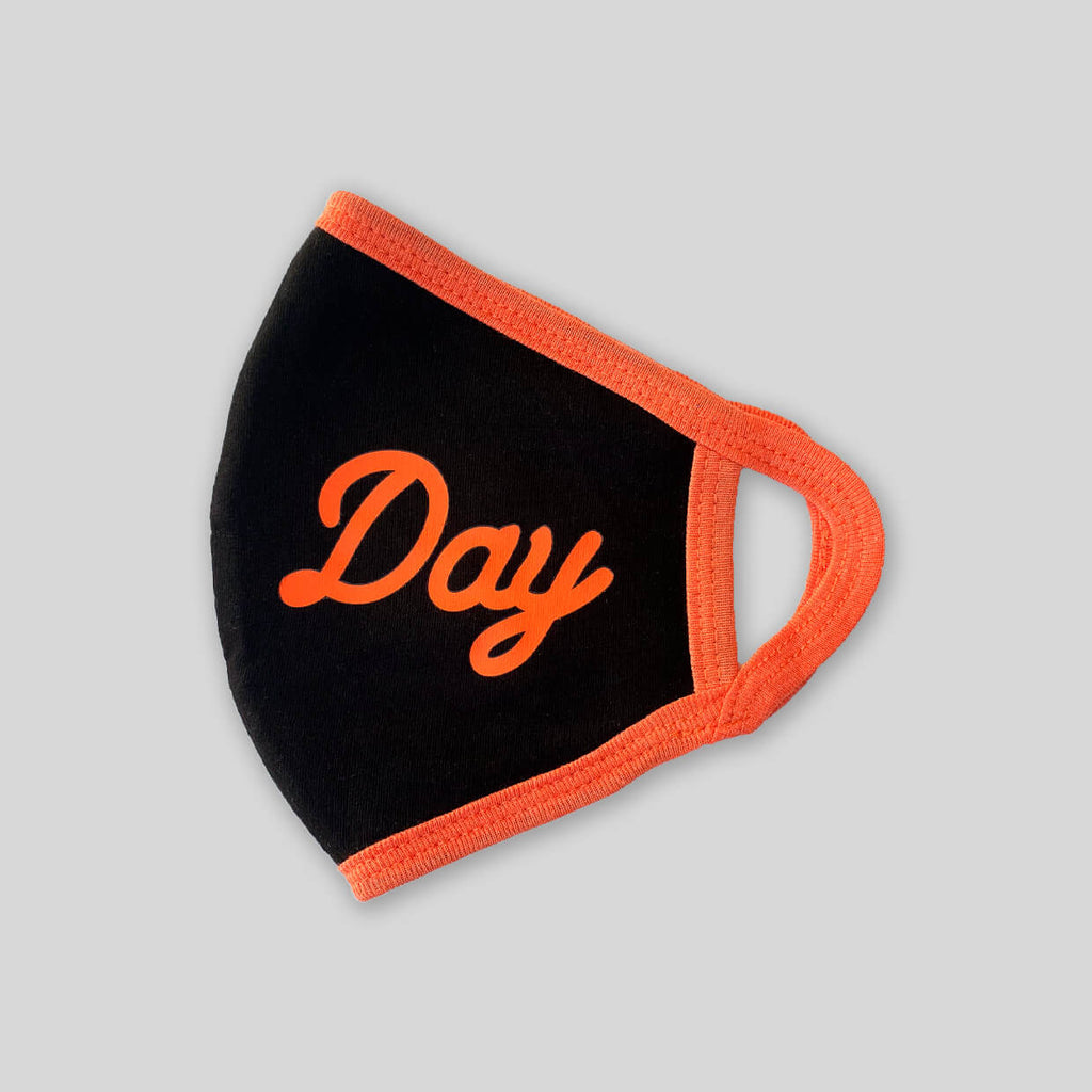 Upper Playground - Lux - NEW! -  ALL DAY IN BLACK/ORANGE 4 PLY COTTON FACE MASK
