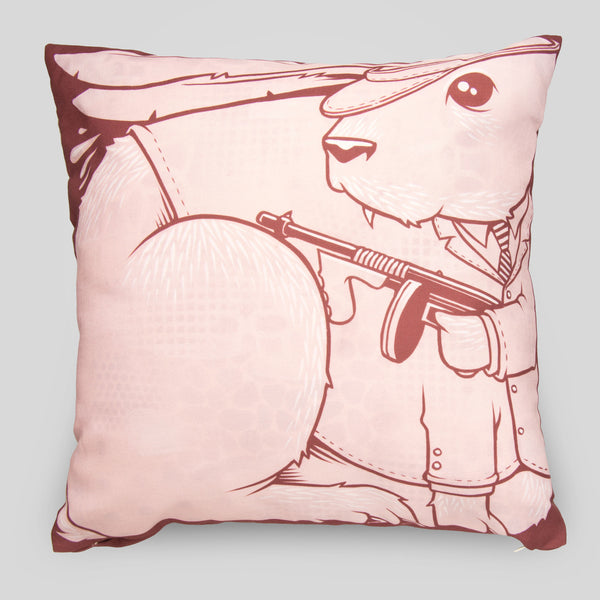 Upper Playground - The Bunnies Pillow by Jeremy Fish