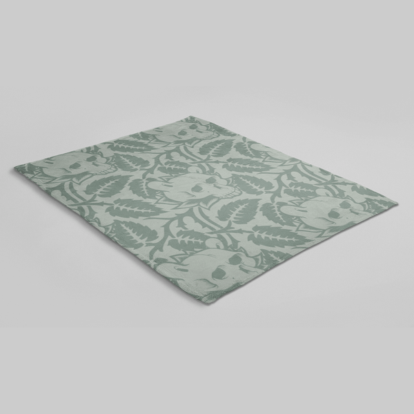 MWW - Skull Leaves by Jeremy Fish Sherpa Blanket