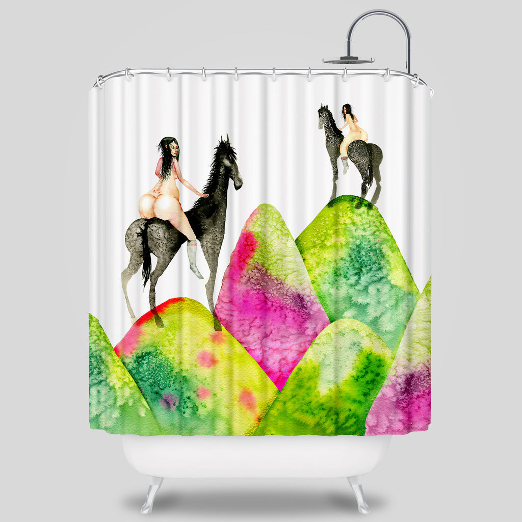 David Choe - Mounds Shower Curtain by David Choe