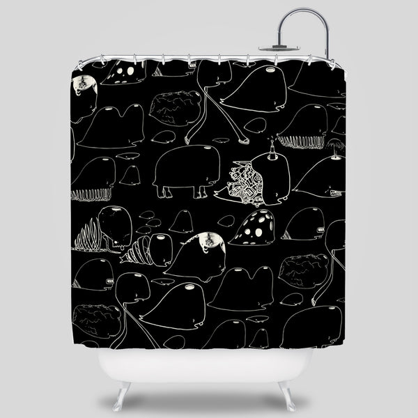 David Choe - Choe Whales Shower Curtain by David Choe