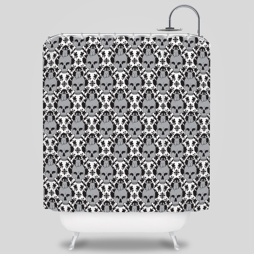 MWW - Skull Bunny Shower Curtain by Jeremy Fish