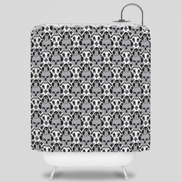 Upper Playground - Skull Bunny Shower Curtain by Jeremy Fish