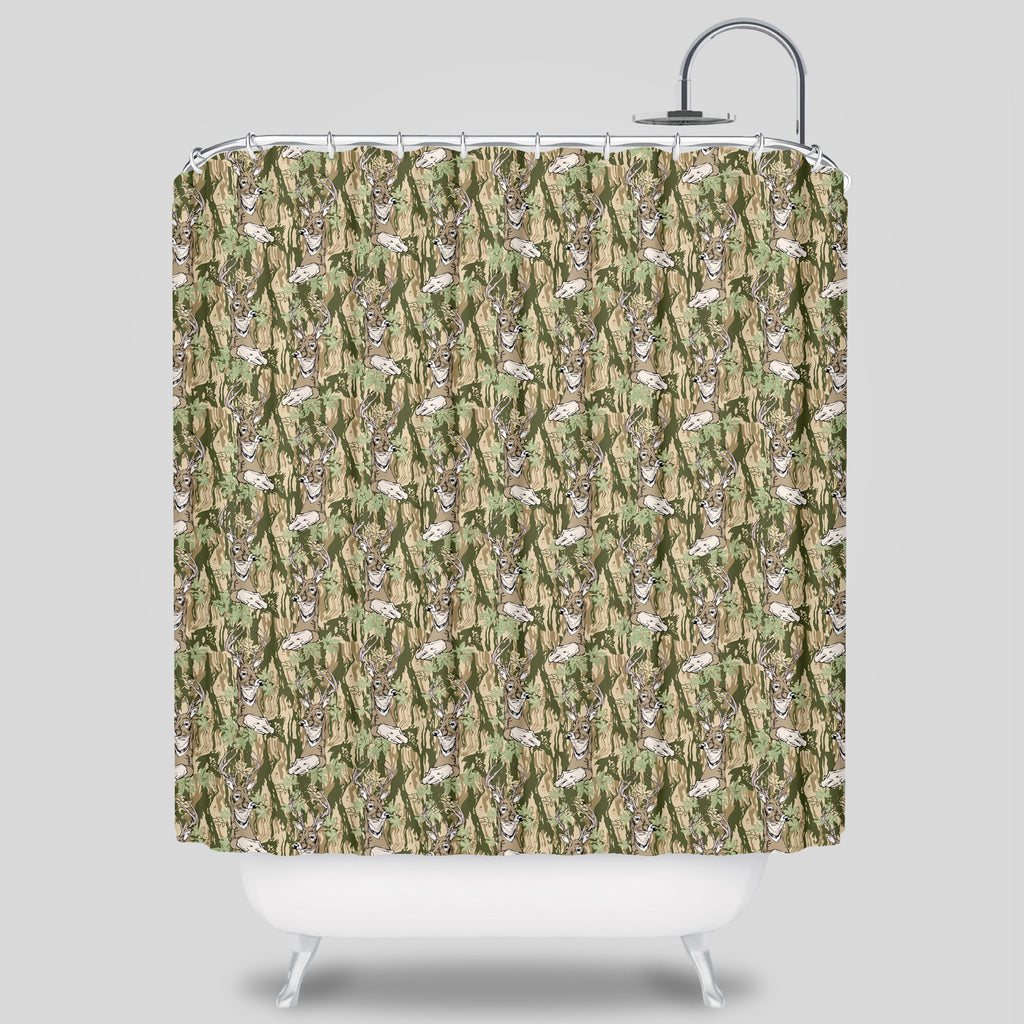 Upper Playground - Woodsmen Shower Curtain by Sam Flores