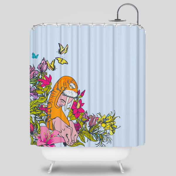 Upper Playground - Wyger Shower Curtain by Sam Flores