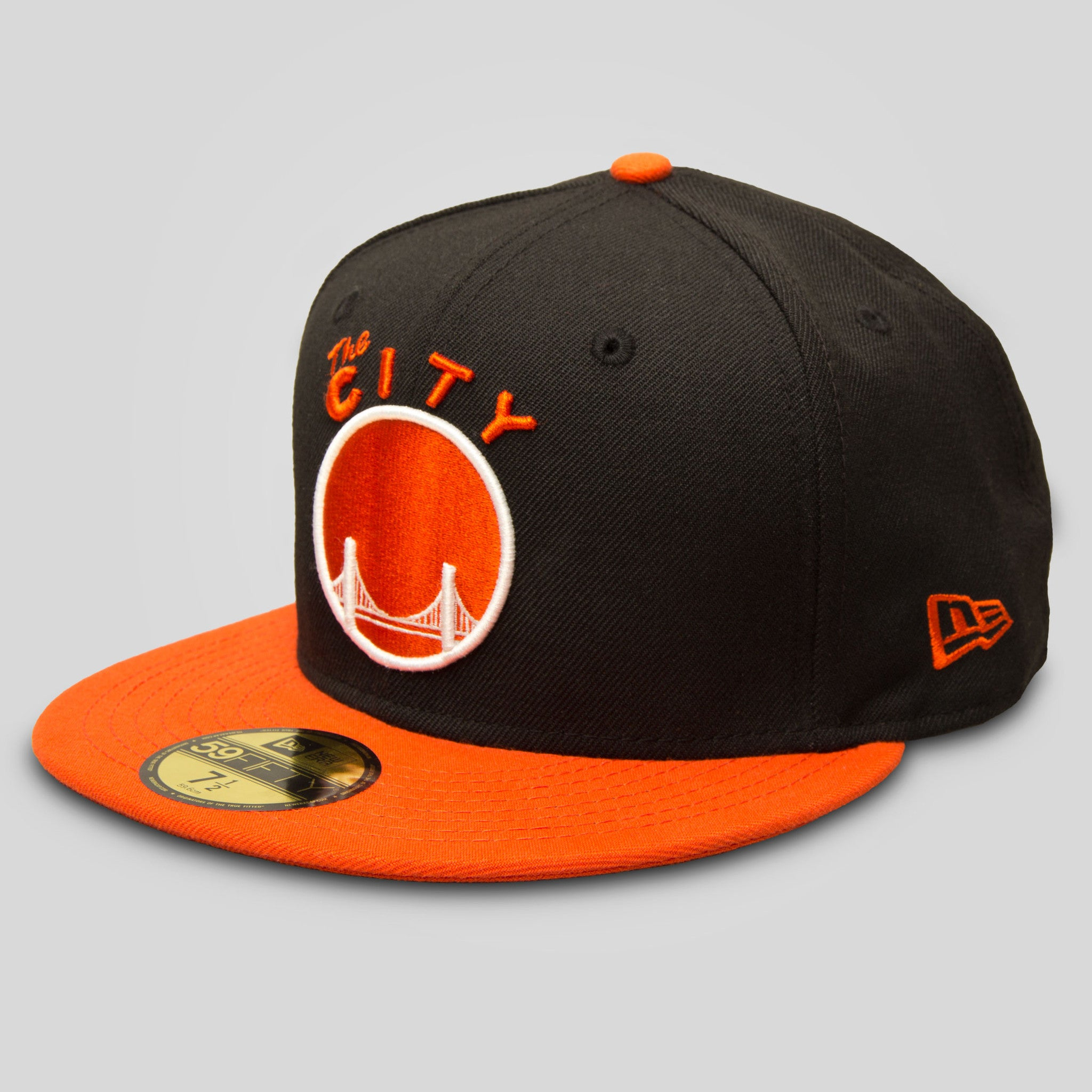 4c37afadfa916 Upper Playground - Lux - THE CITY New Era Fitted Cap in Black Orange