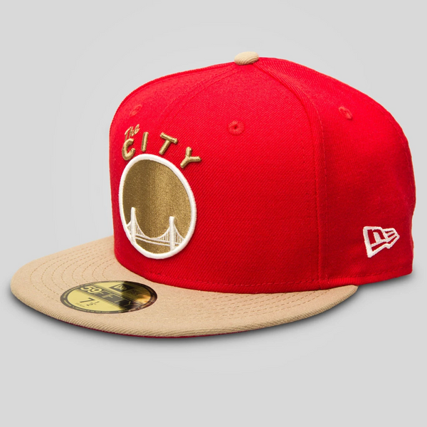 Upper Playground - Lux - The City New Era Fitted Cap in Khaki/Red