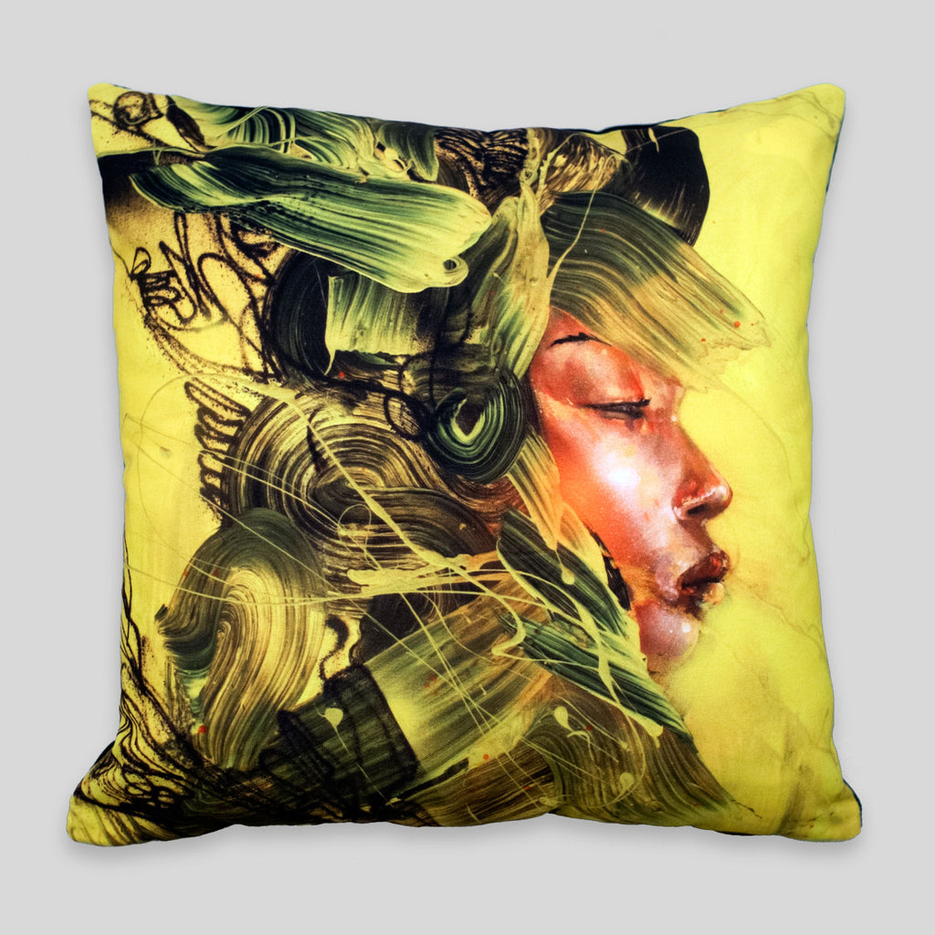 David Choe - Yellow Armor Pillow by David Choe