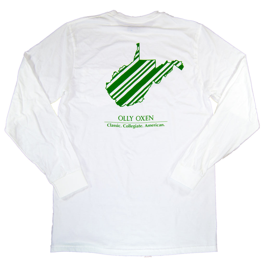 West Virginia Long Sleeve T-Shirt Green & White