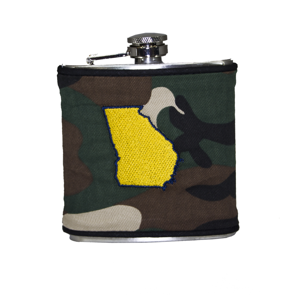 Georgia Flask - Camo, Navy & Gold