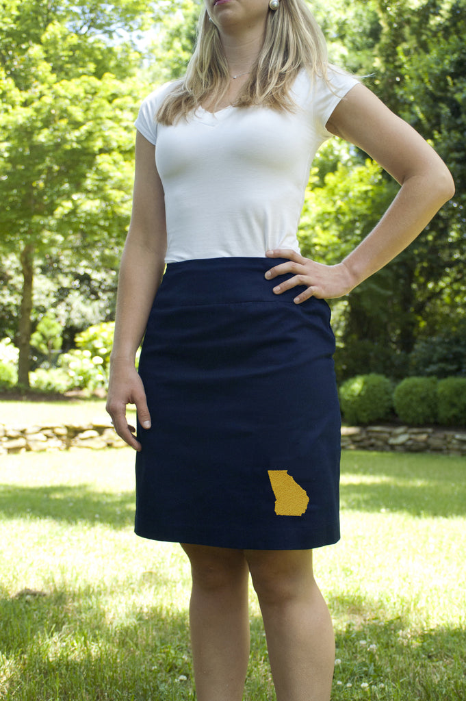 Georgia Skirt - Navy & Gold