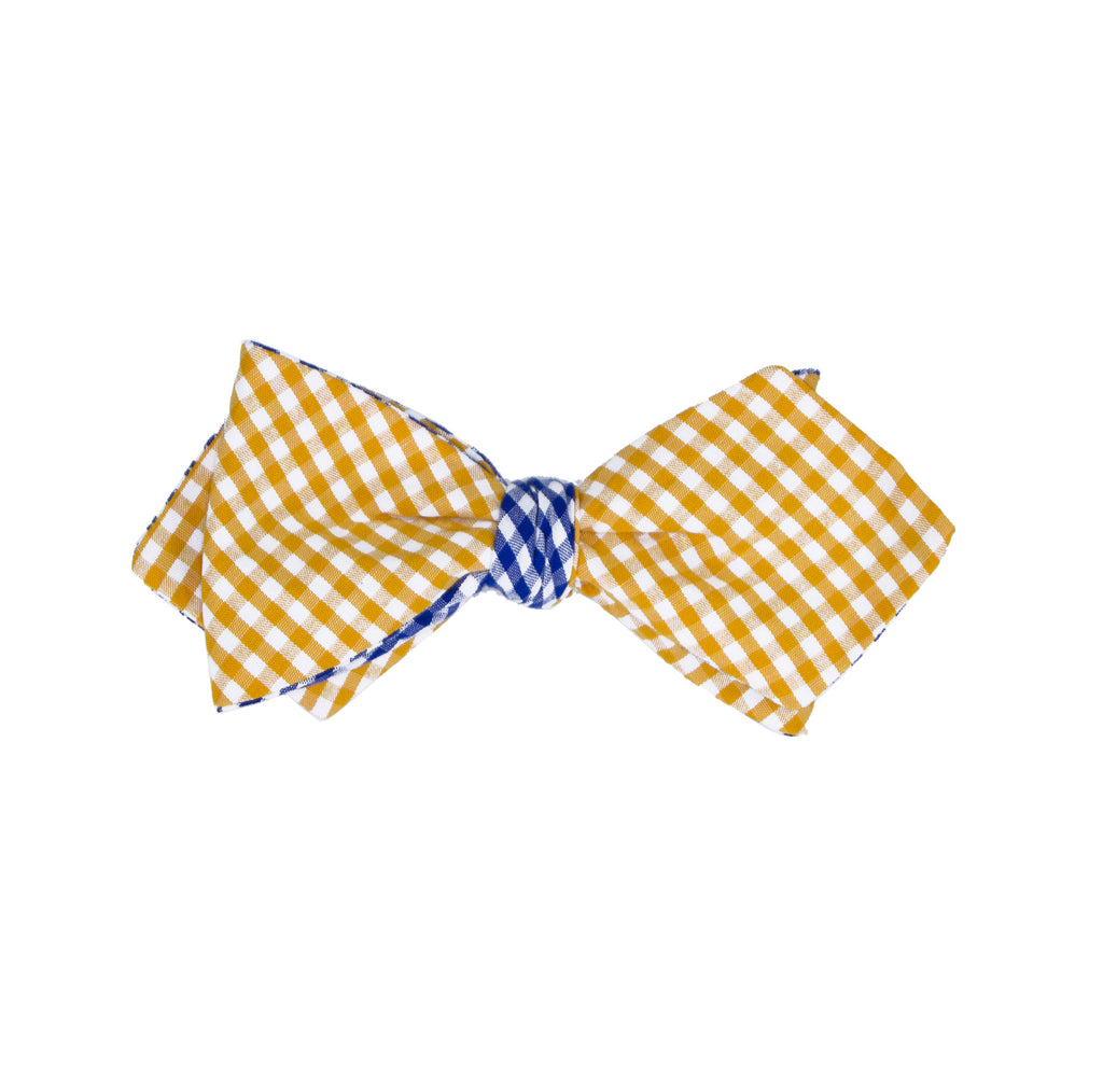 Orange & Royal Gingham Bow Tie