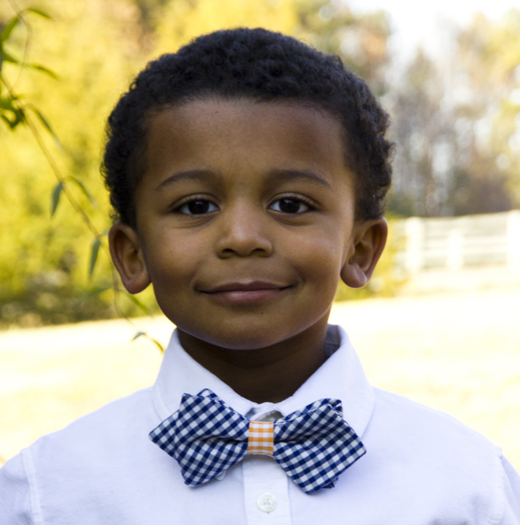 Boy's Navy & Orange Bow Tie