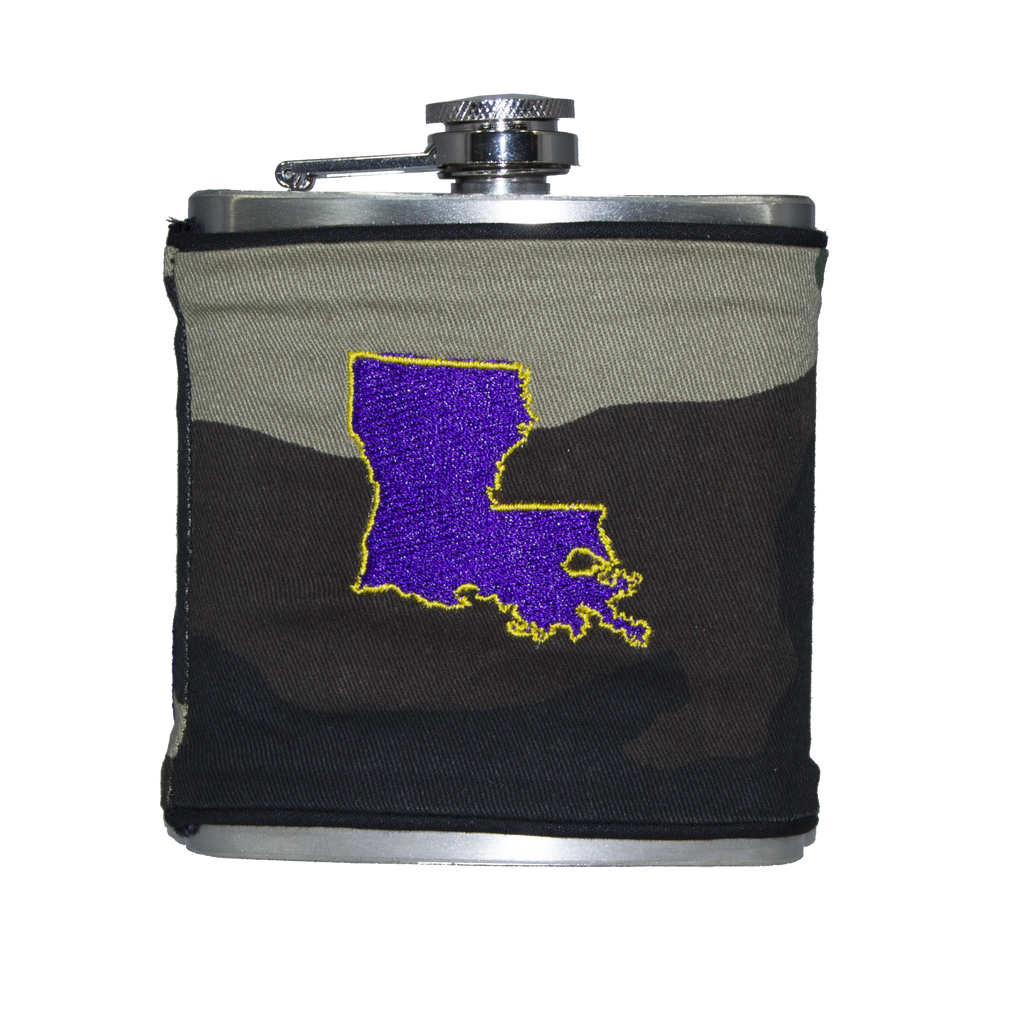 Louisiana Flask - Camo, Purple & Gold