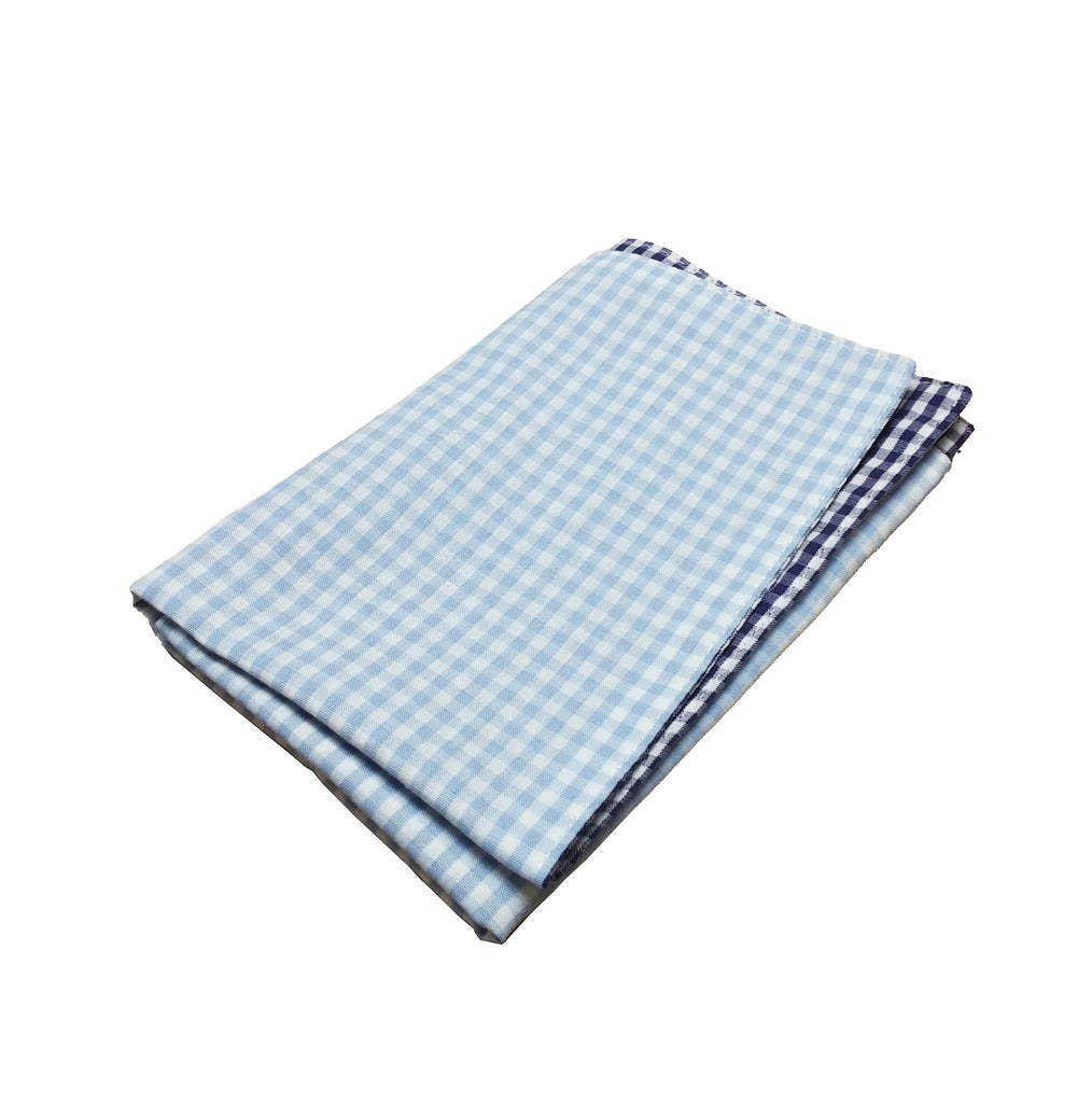 Light Blue & Navy Gingham Pocket Square