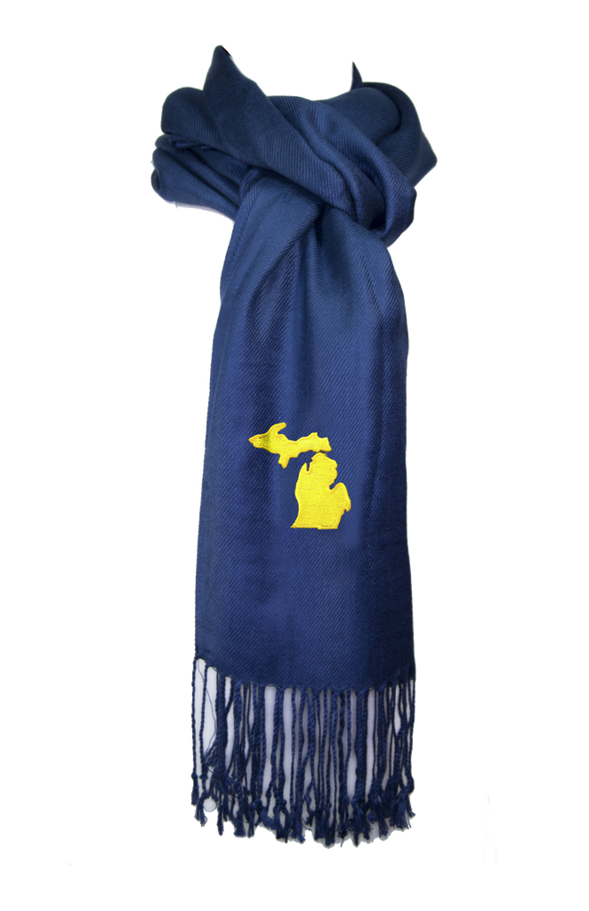Michigan Scarf - Navy & Gold