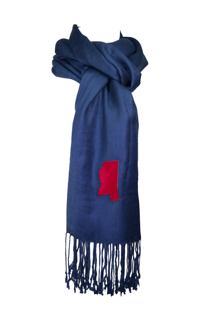 Mississippi Scarf - Navy & Red
