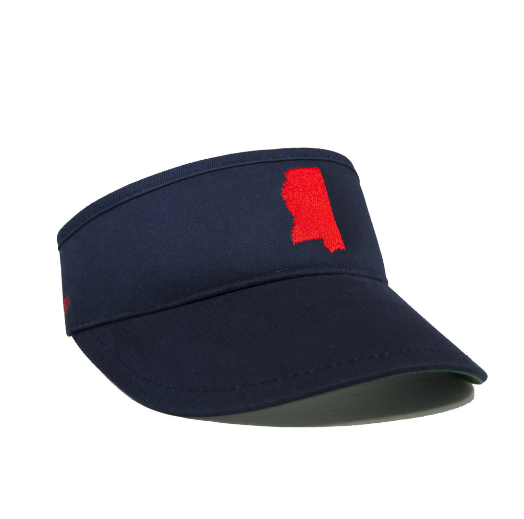 Mississippi Visor - Navy & Red