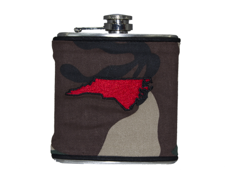 North Carolina Flask - Camo, Black & Gold