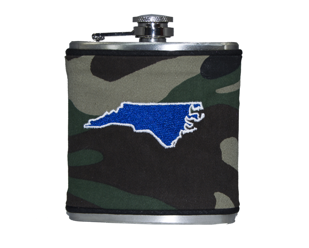 North Carolina Flask - Camo & Royal Blue