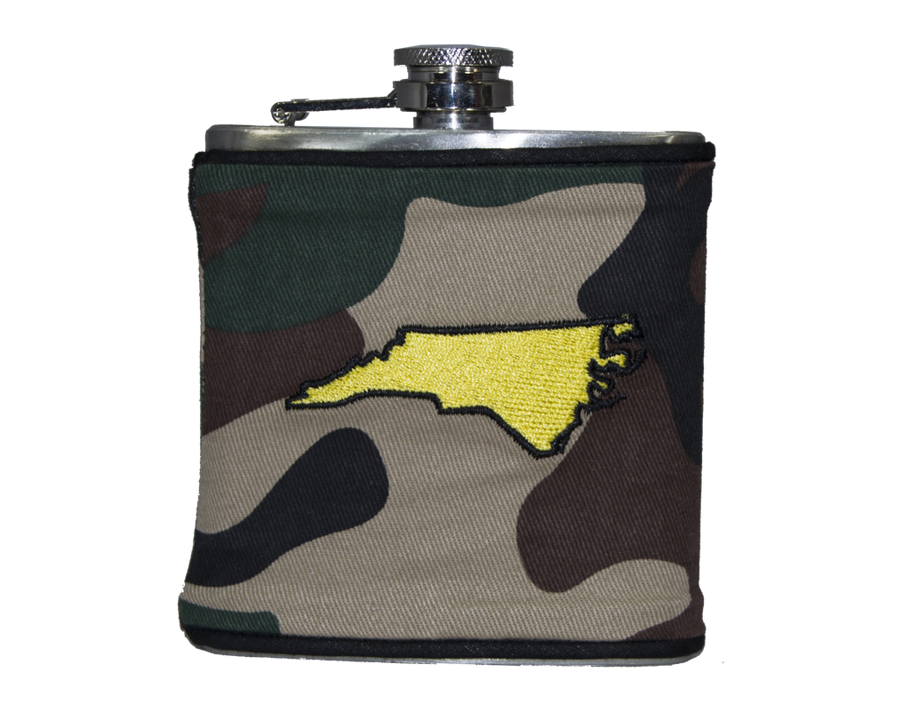North Carolina Flask - Camo, Black & Yellow