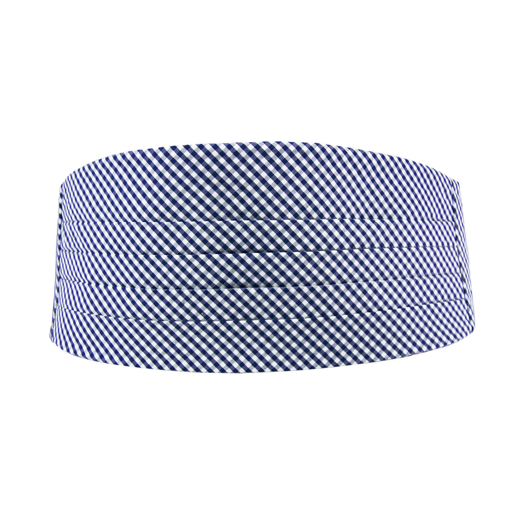 Navy Blue Gingham Cummerbund