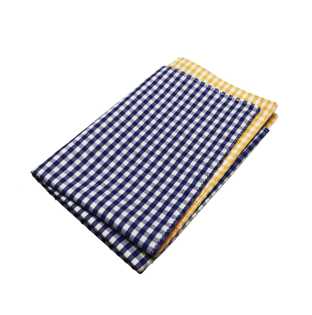 Navy & Orange Gingham Pocket Square