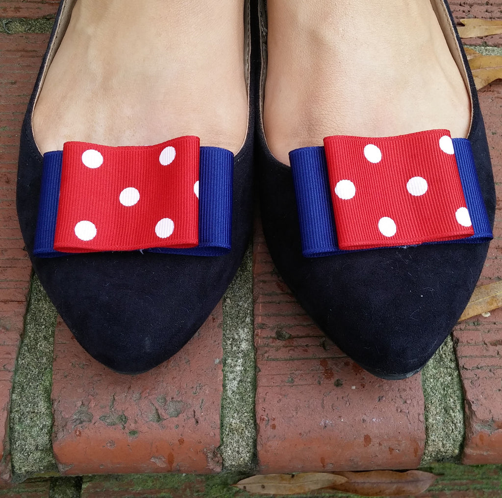 Navy & Red Shoe Clips