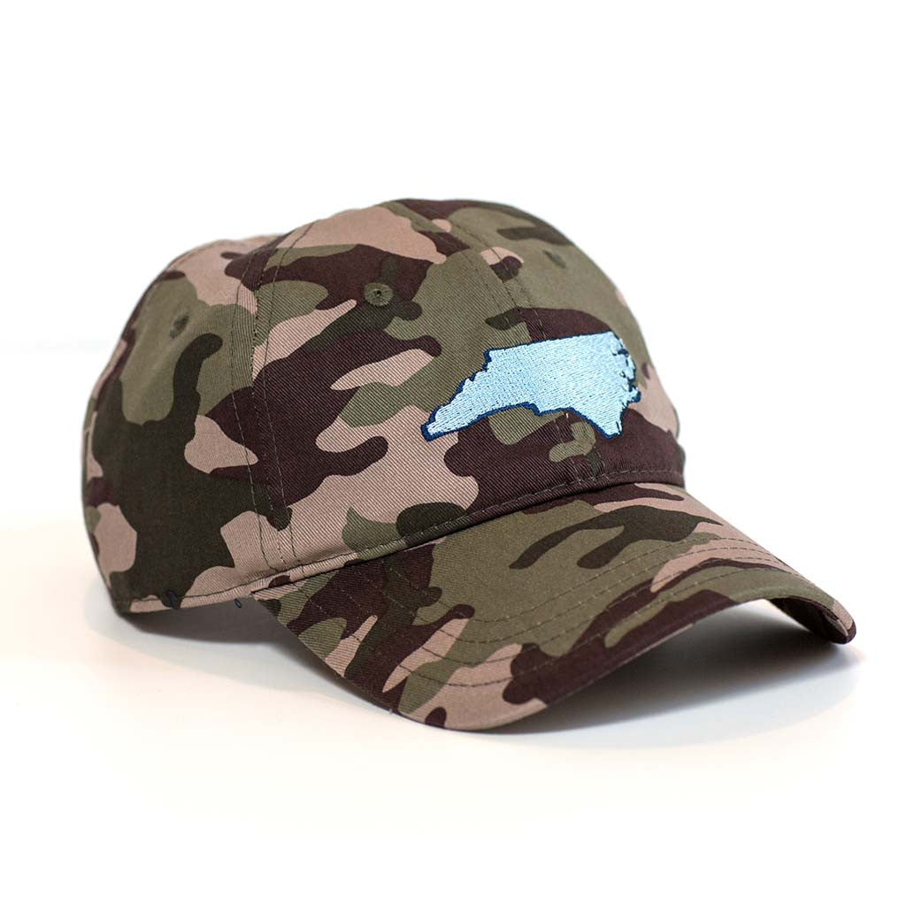 North Carolina Hat - Camo & Light Blue