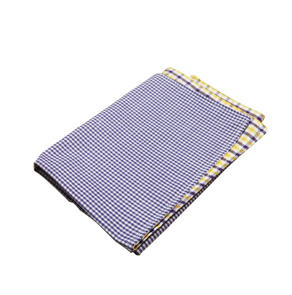 Purple & Gold Tri-check Pocket Square