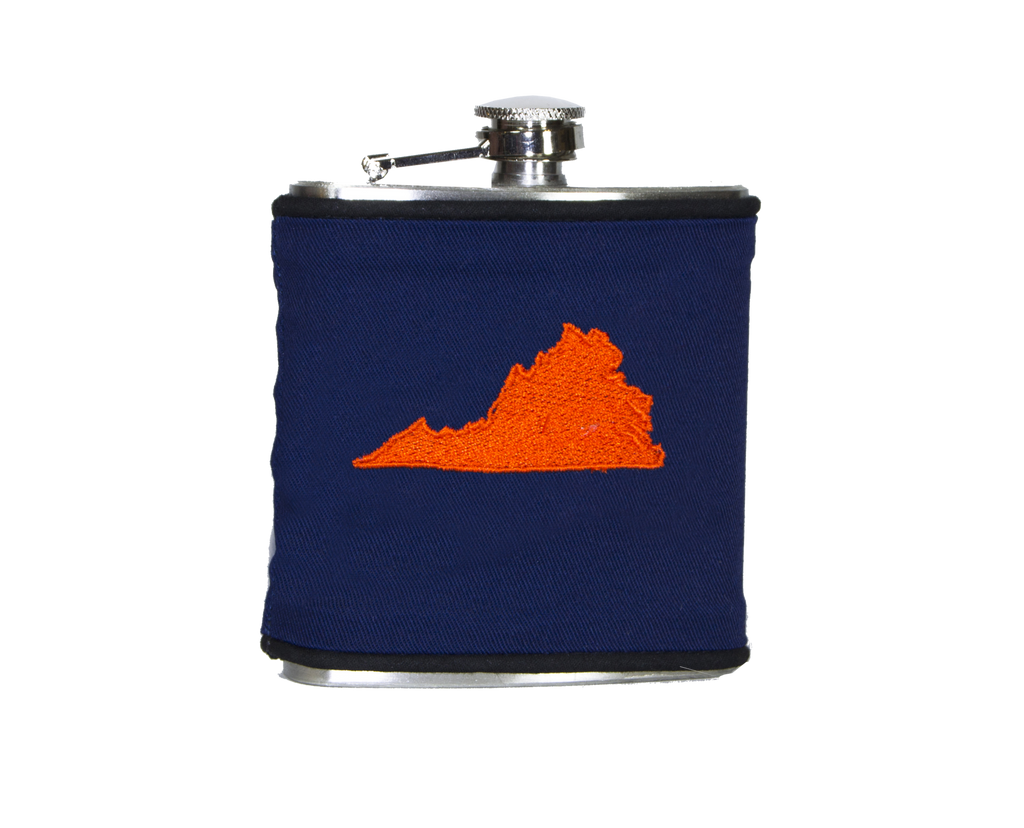 Virginia Flask - Navy & Orange