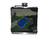 West Virginia Flask - Camo, Navy & Gold