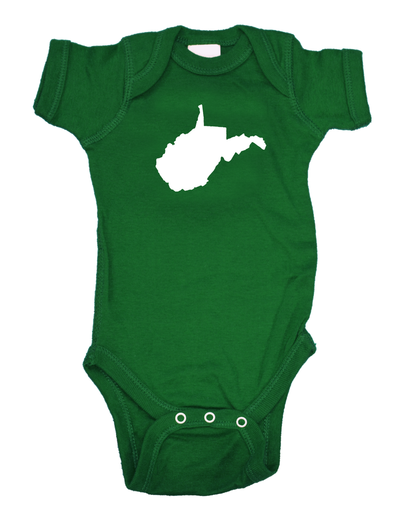 West Virginia Onesie - Green & White