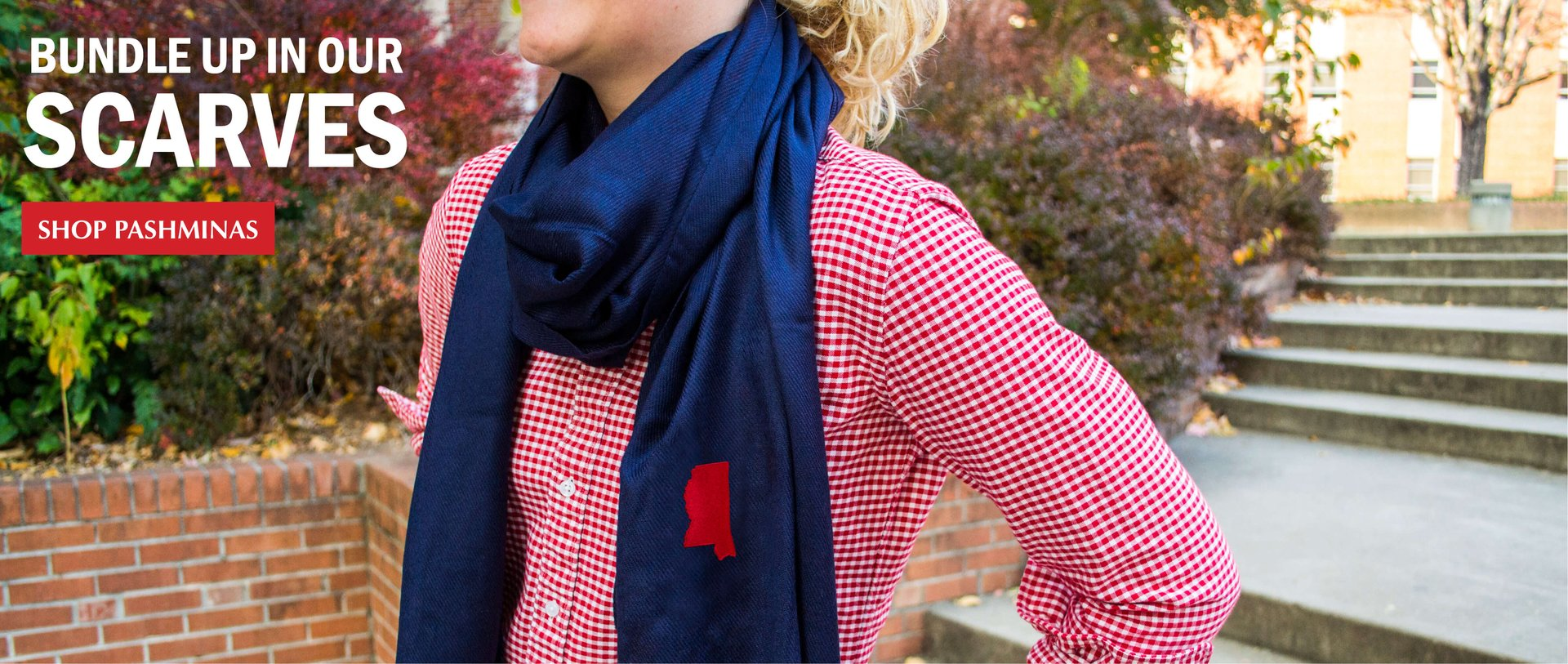 Collegiate and state pride pashmina scarves for women