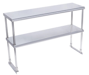 Commercial Heavy Duty Adjustable Stainless Steel Double Over Shelf For Prep Table With L Wrench Bracket
