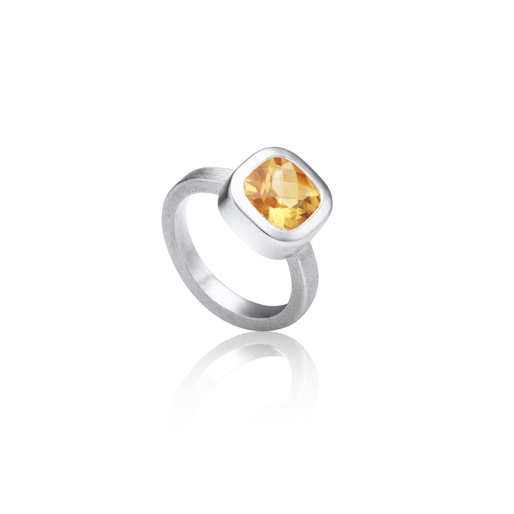 Cushion Citrine ring - Kathryn Rebecca