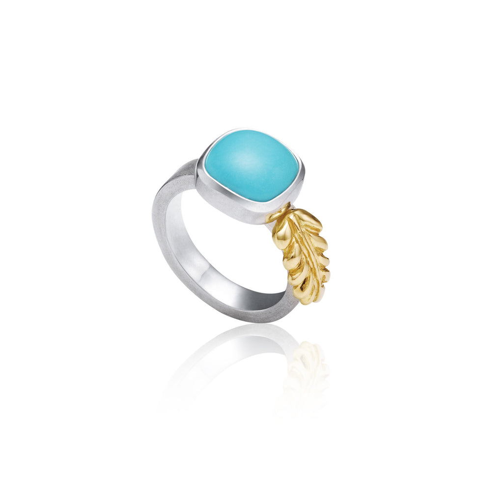 Cushion cut Turquoise with 18k yg fern - Kathryn Rebecca