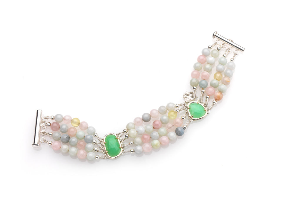 Aquamarine and Chrysoprase bracelet