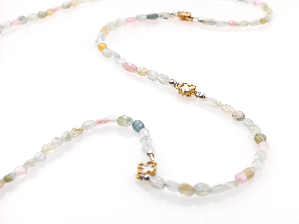 Long Aquamarine and Clover neckalce - Kathryn Rebecca