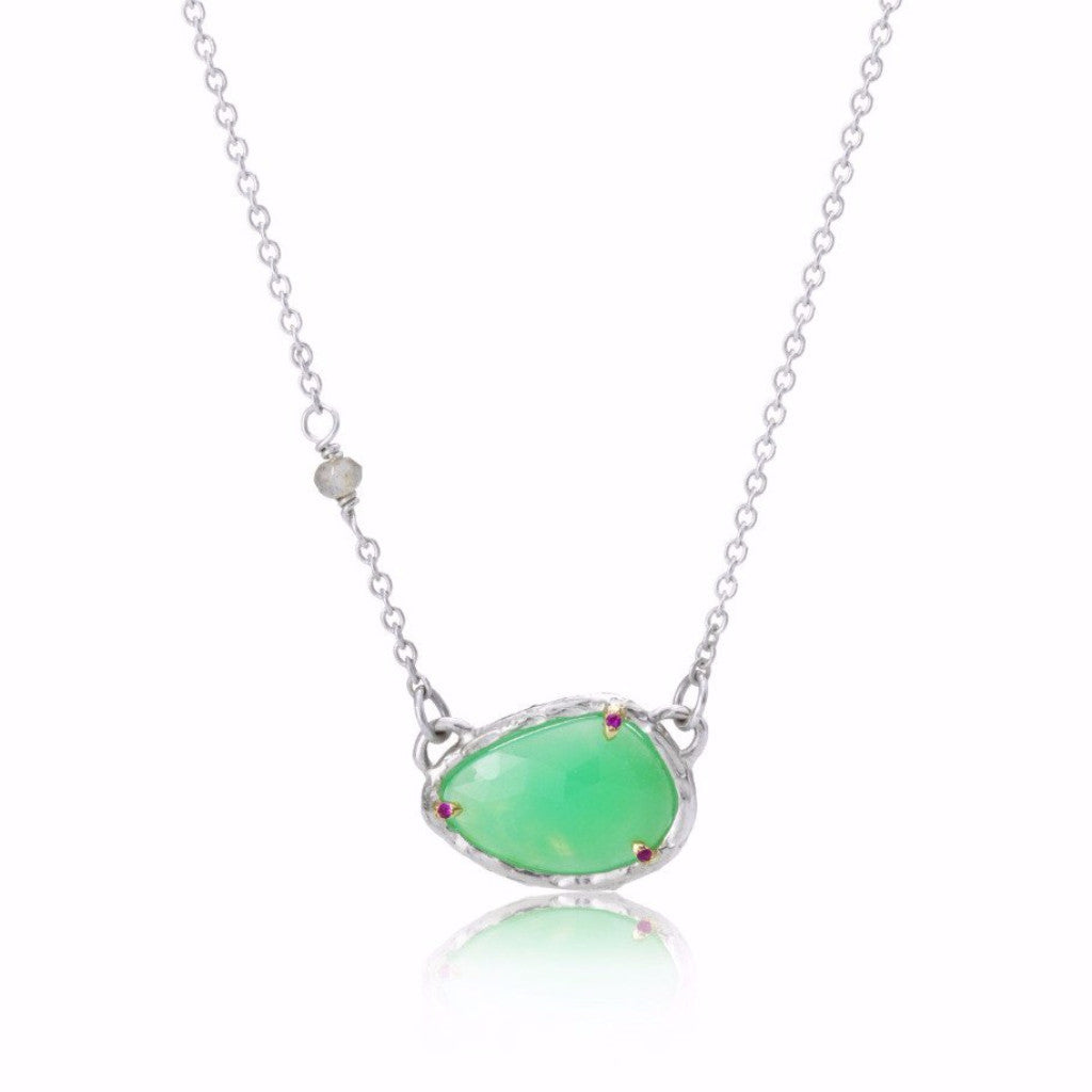 p kaia diamond silver sterling chrysoprase adornia and sliced champagne width v necklace