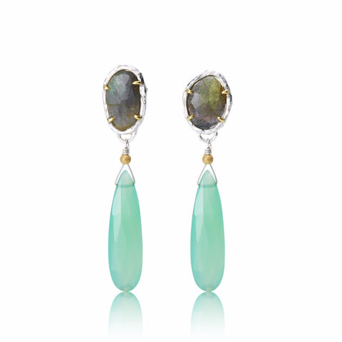 Labradorite and Chalcedony drops