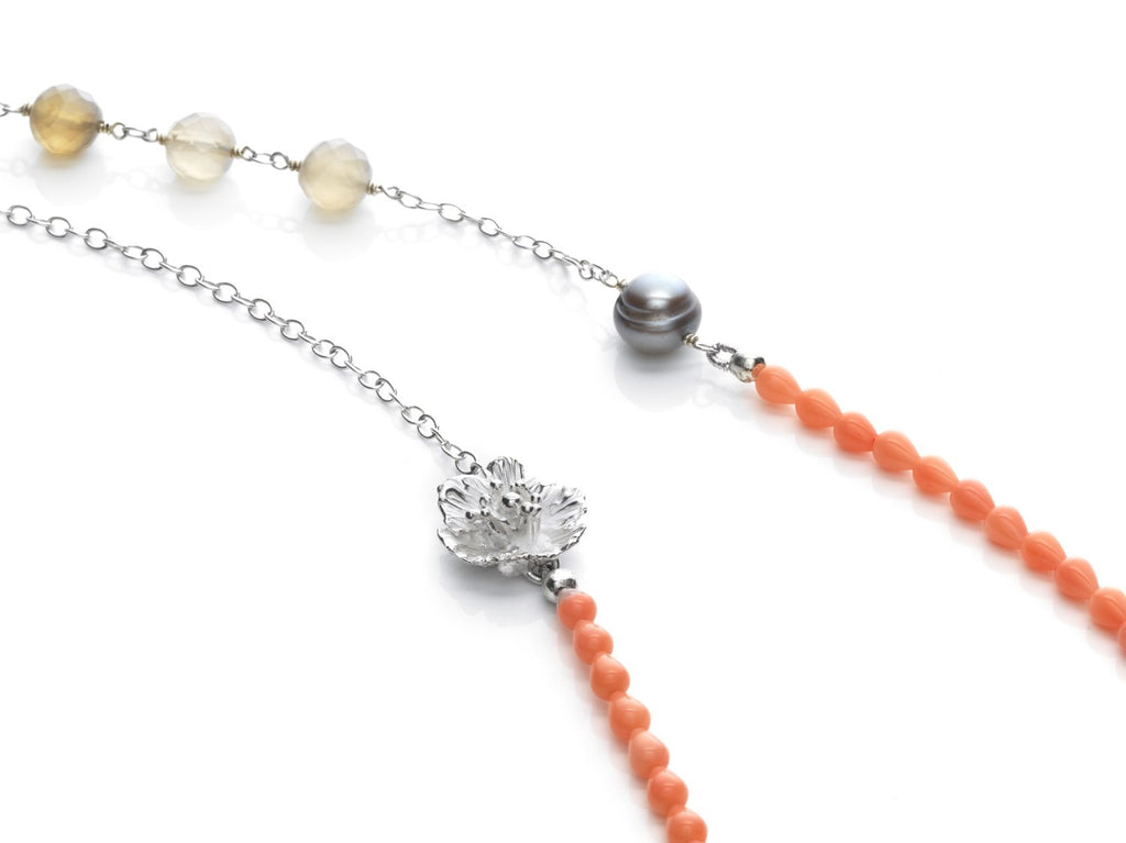 Wildflower- Poppy and coral necklace - Kathryn Rebecca