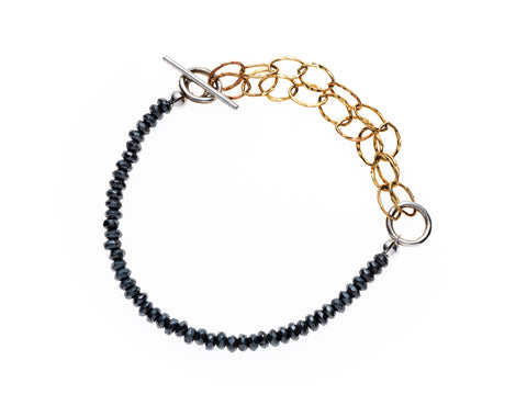 Hematite and Gold fill bracelet