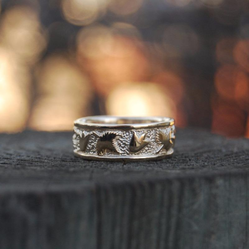 rings gold twig dawn wedding eternity bands and raw uncut by engagement or ring vine leaf rough vertrees anniversary