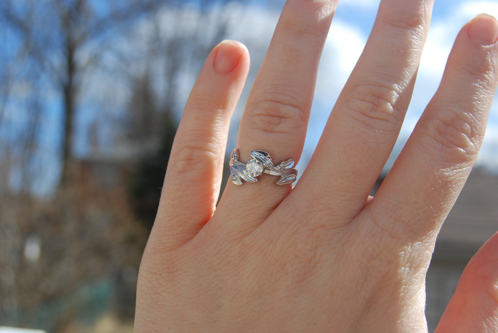 Leaf and moissanite ring - Kathryn Rebecca