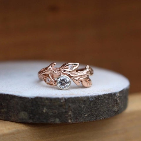 Branch and leaf custom made ring