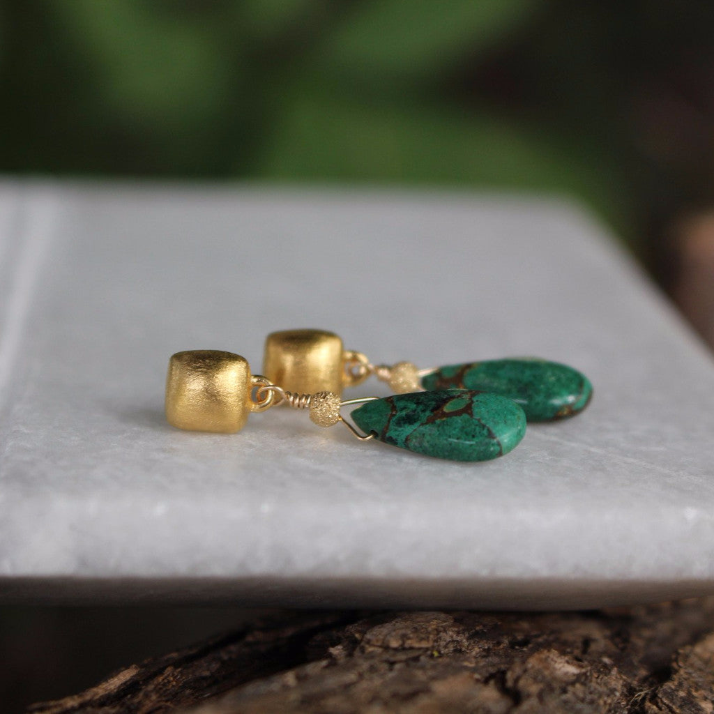 Cushion drops with Green Azurite Copper Obsidian