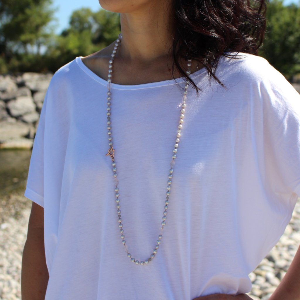 Long gray pearl necklace - Kathryn Rebecca
