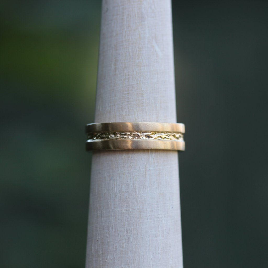 Men's classic band with branch inset - Kathryn Rebecca